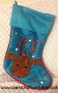 Cubbie Reindeer Turquoise Christmas Stocking