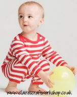 Red & White Stripey Baby Sleepsuit
