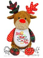 Harlequin Christmas Reindeer Cubbie - Applique Christmas