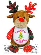 Harlequin Christmas Reindeer Cubbie - First Christmas
