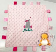 Personalised Pink Bubble Baby Comforter with Tags and Unicorn & Name Design for birth present, christening, baptism or new baby gift