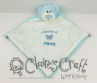 Personalised Blue Cubbie Bear Baby Comforter with Bear and Name Design for birth present, christening, baptism or new baby gift