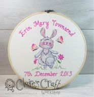 Framed Embroidered Personalised Cute Bunny Baby Birth Sampler for Boy or Girl - birth gift, christening gift, new baby, birthday