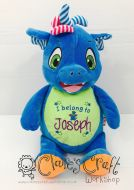 Personalised Embroidered Dragon Teddy from the Cubbies Signature Range with Bespoke Message, for births, birthday gift, baby gift