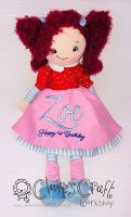 """""""Handmade 40cm Powell Craft rag doll in a Navy gingham dress with butterfly and flower design‰Û? CE marked and su…"""