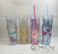 Personalised Glitter Tumbler with straw approx 400ml pink, blue, gold, silver, confetti, sparkle, cup, reusable, drink, BPA free, hen party