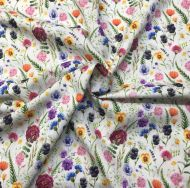 Wild Flower Meadow in White 100% Cotton Fabric - Fat Quarter, 1/2 Metre and by the Metre. John Louden