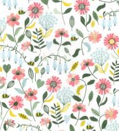 Wild Flowers and Bees on White 100% Cotton Fabric - Fat Quarter, 1/2 Metre and by the Metre. John Louden