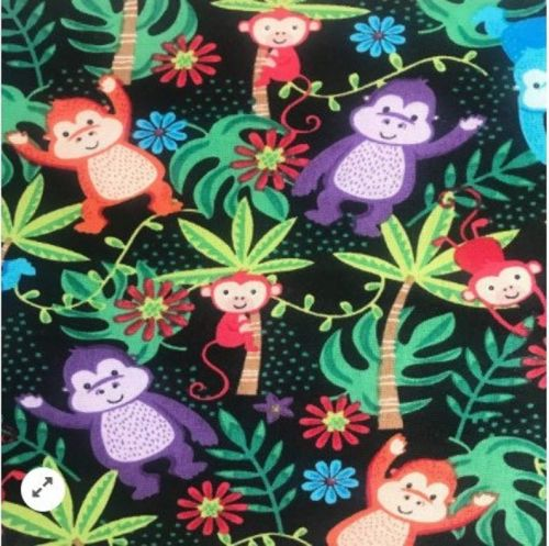 Colourful Gorillas on Black 100% Cotton Fabric - Fat Quarter, 1/2 Metre and by the Metre. The Craft Cotton Company