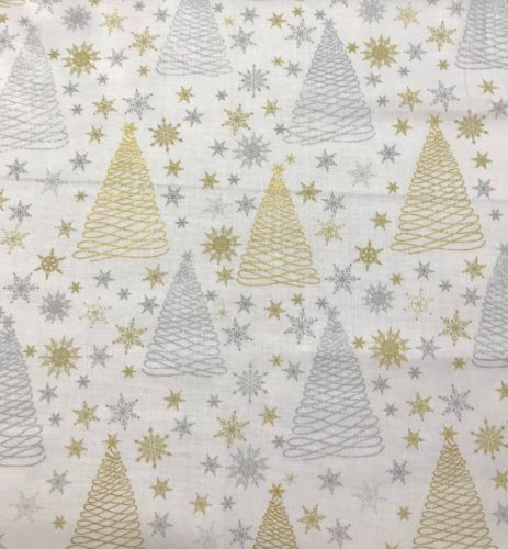 Sparkle Metallic Christmas- Glitter trees 100% Cotton Fabric - Fat Quarter, 1/2 Metre and by the Metre. Craft Cotton Co.