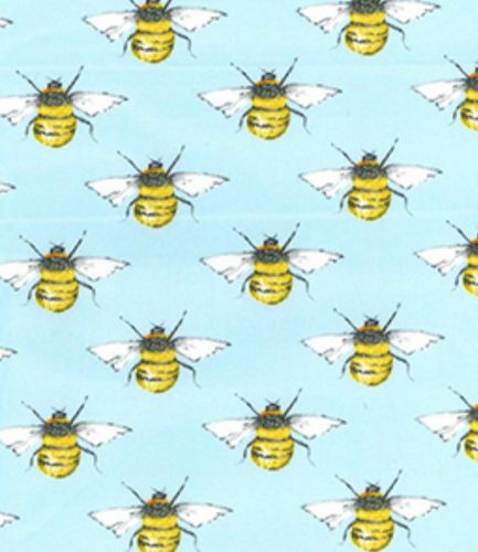 Bees on Sky Blue 100% Cotton Poplin Fabric - Fat Quarter, 1/2 Metre and by the Metre. Rose & Hubble