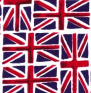 Union Jack Flag Fabric 100% Cotton Fabric - Fat Quarter, 1/2 Metre and by the Metre