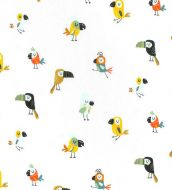 Toucan, Macaw and Parrot on White Fabric 100% Cotton - Fat Quarter, 1/2 Metre and by the Metre. John Louden