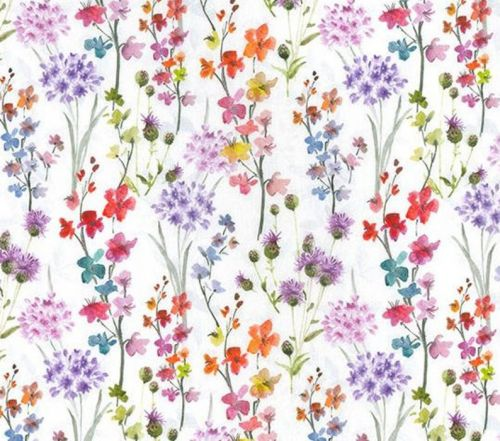 Wild Meadow Flowers on white Floral Fabric in 100% Cotton - Fat Quarter, 1/2 Metre and by the Metre. John Louden