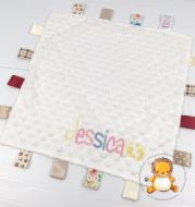 Personalised Cream Bubble Baby Comforter with Tags and Name Design for birth present, christening, baptism or new baby gift