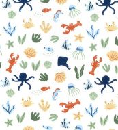 Sea Creatures on White Fabric 100% Cotton - Fat Quarter, 1/2 Metre and by the Metre. John Louden, octopus, jelly fish, lobster, seahorse