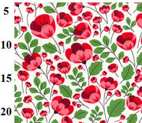 Pretty Red Poppies on Ivory 100% Cotton Poplin Fabric - Fat Quarter, 1/2 Metre and by the Metre. Rose & Hubble