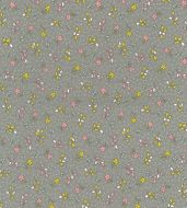 Cute Tiny Flowers on Grey Fabric 100% Cotton Poplin Fabric - Fat Quarter, 1/2 Metre and by the Metre. Rose & Hubble