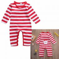 Red   White Stripey Baby Sleepsuit with Santa on bum 52a7b78da