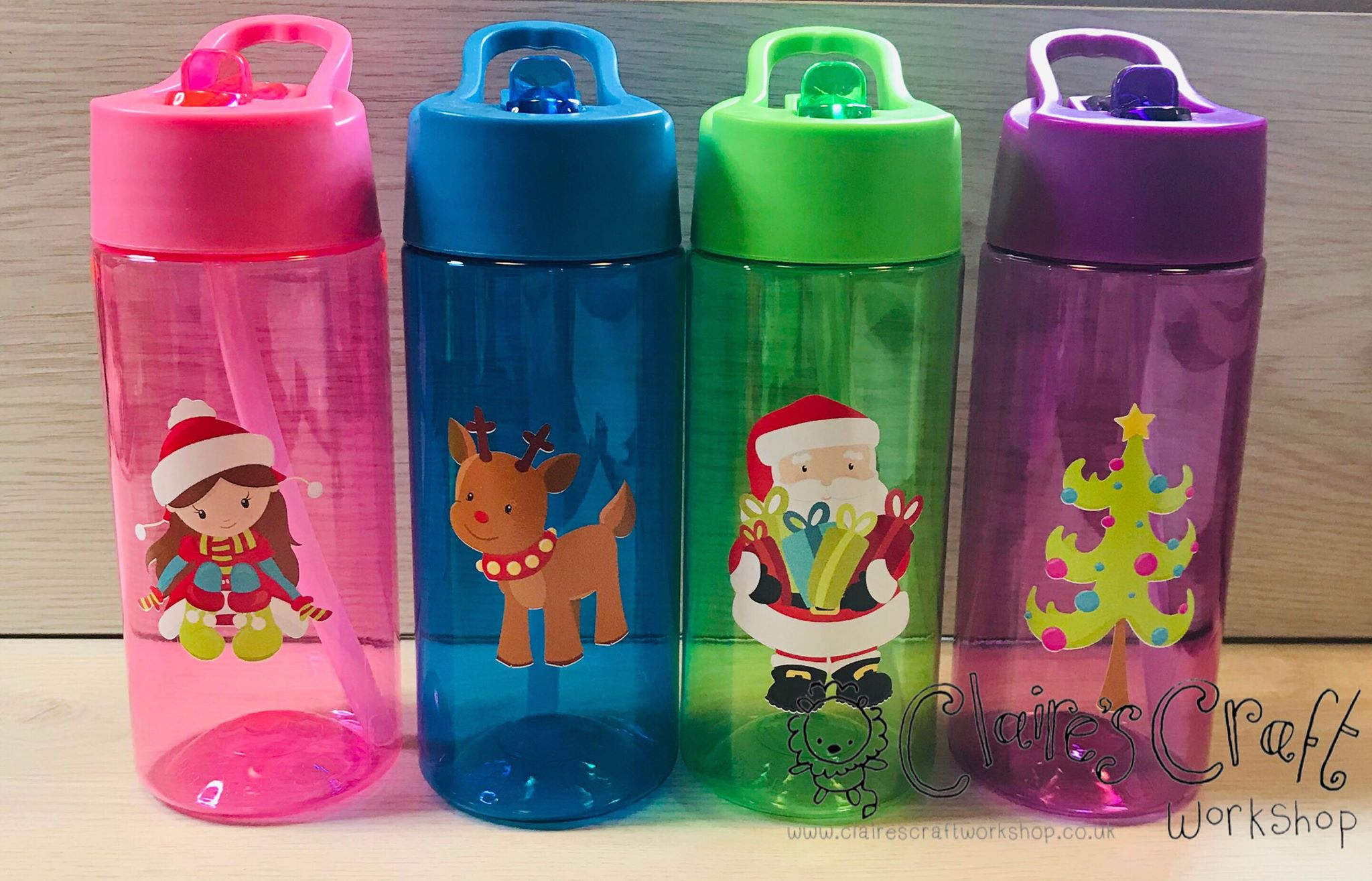 Personalised Kids Water Bottle With Straw With Or Without Christmas